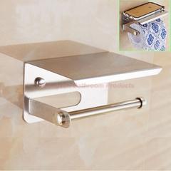 Stainless Steel Bathroom Rack Toilet Tissue Dispenser Toilet Paper Holder with Mobile Phone Shelf mirror finish wall mounted