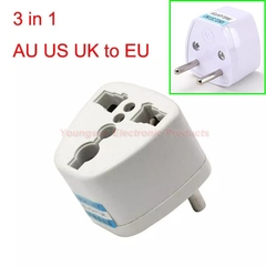 Universal Worldwide Travel Wall Charger AU US UK to EU AC Power Plug Adapter Outlet Socket Converter white