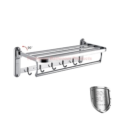 304 Stainless Steel Double Layer Folding Towel Shelf SUS304 Foldable Bath Towel Rack Towel Holder mirror finish wall mounted