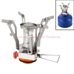 3000W Mini Outdoor Gas Stove Lightweight Pocket Outdoor Cooking Burner Folding Camping Gas Stove Orange