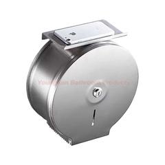Commercial Stainless Steel Lockable Jumbo Toilet Roll Holder with Phone Shelf Toilet Tissue Holder brushed finish round