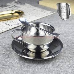 High Quality 304 Stainless Steel Coffee Cup Saucer and Spoon Set SUS304 Double Wall Tea Cup Model A 120ml