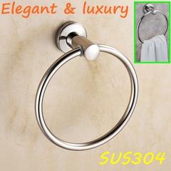 Luxury Bathroom Fittings 304 Stainless Steel Bath Towel Ring Towel Hanger Towel Bar Towel Shelf mirror finish round