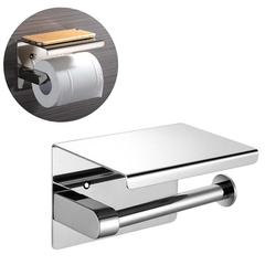 Luxury High Quality 304 Stainless Steel Toilet Paper Holder with Phone Shelf Toilet Tissue Holder mirror finish wall mounted