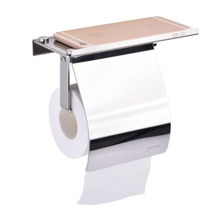 304 Stainless Steel Toilet Tissue Holder with Phone Shelf Bathroom Accessories Toilet Roll Dispenser mirror finish wall mounted