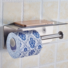 Luxury 304 Stainless Steel Double Toilet Paper Holder with Mobile Phone Shelf Bathroom Shelves mirror finish wall mounted