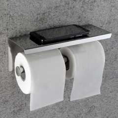 Luxury 304 Stainless Steel Double Toilet Paper Dispenser with Mobile Phone Shelf Bathroom Rack mirror finish wall mounted