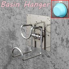 Adhesive Nail-free NO Drilling Bathroom Rack and Shelf Wash Basin Hanger Basin Rack Basin Holder brushed finish square