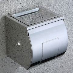 Waterproof Stainless Steel Toilet Paper Roll Holder with Soap Tray Rough Straw Paper Dispenser polished finish square