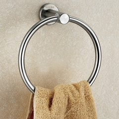 SUS304 Bath Towel Ring Bathroom Hardware Set Hand Towel Holder Satin Finish Circle Ring Towel Rack brushed finish wall mounted