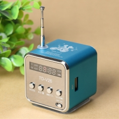 Music Player, New Mini Digital Portable Music MP3/4 Player TF Card USB Disk Speaker FMRadio blue