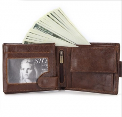 Men Wallets Male Genuine Leather short wallet brown one