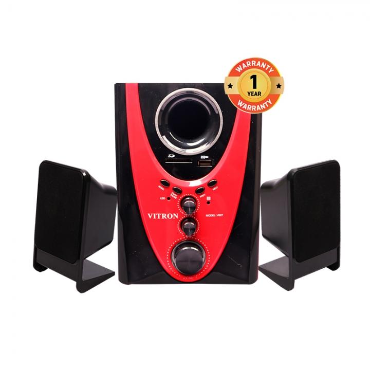 VITRON V027 Home Theater Sound System 2.1 Multimedia Bluetooth Speaker Subwoofer black&red 25w V027