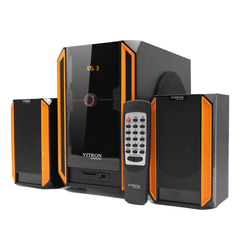 VITRON V328 2.1CH USB Stereo Multimedia Speaker System Subwoofer For Laptop PC Computer Black&Yellow 35w V328