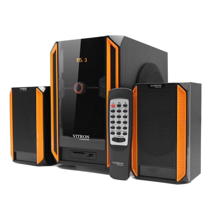 VITRON V328 2.1CH USB Stereo Multimedia Speaker System Subwoofer For Laptop PC Computer Black&Yellow 35w V328