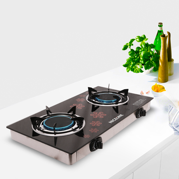 NICEONE Glass Top Gas Stove Double Burner GS005 black one size