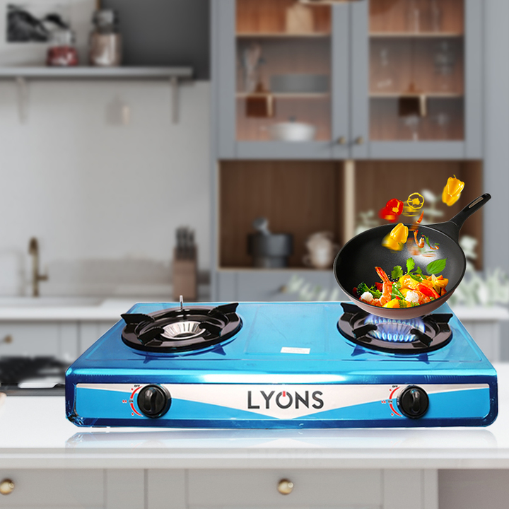 Lyons Stainless steel body Gas Stove Double Burner GS002 blue as from picture