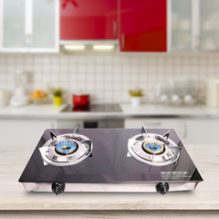 Lyons Glass Gas Double Burner Black as from picture