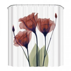 3D Printing Corn Poppy Shower Curtain Set with 12  MULTI