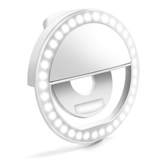 LED Ring Selfie Light Clip for Smart Phone Camera Round Shape - Rechargeable WHITE