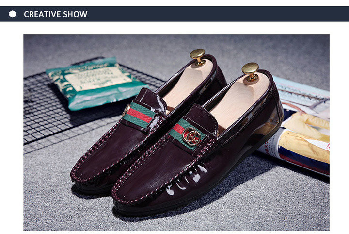 3bf136d88339 2018 New Fashion Men Casual Shoes High Quality Japanned Leather Shoes Slip  On Leather Loafers Wine