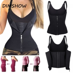 Women Corset Waist Trainer Cincher Control Body Shaper Underbust Slimming Adjustable Shoulder Straps black xxl