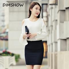 New Women Solid Black Blue Pink Knee-Length Pencil Skirt Female Fashion Rivet Skirts  Formal Skirt black s