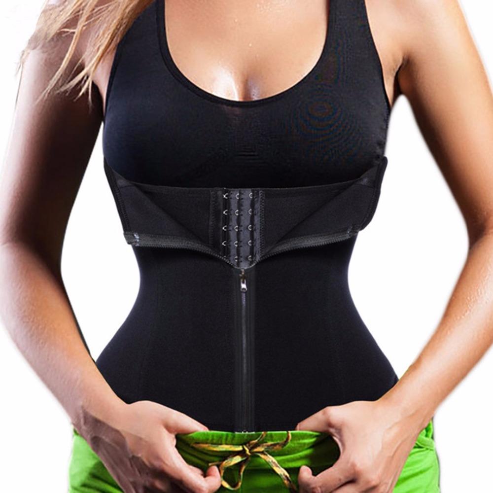 b11e31a685 Black Waist Trainer Tummy Control Corsets Tops for Women with Zipper ...