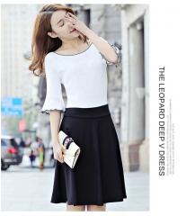 Women Skirts 2018 Women High Waist Pleat Elegant Skirt Vintage Wine Red Black Knee-length Skirts black s