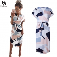 Women Summer Short Sleeve Party Night Beach Geometric Printing Party Long Dress s 1
