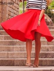 Women Perfect Peach Pink Pleats A-line Saias Femininas Flared High Waist Midi Skater Skirt S-XL black s