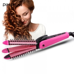 3 in 1 Hair Straightener Curling Irons Straightening Corrugation Board Curling Styling Tools Pink One size