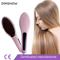 Electric straight hair comb LCD straight brush Ceramic Hair Straightener Comb Flat Iron pink one size