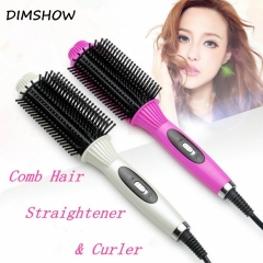 Professional Hair Straightener Comb Electric Brush Hair Straightening Flat Iron Styling Tools random color(red/white) one size