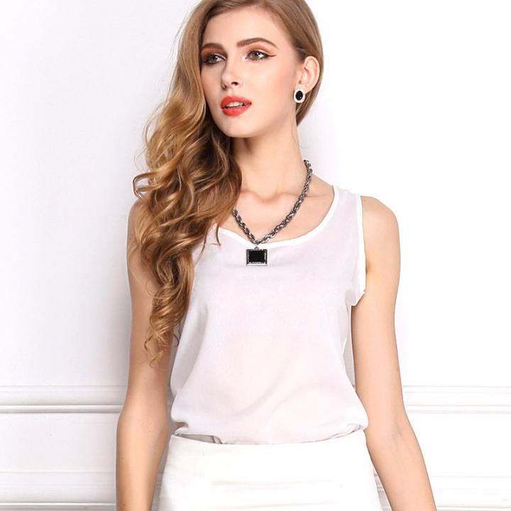 Fashion Women Candy Color Chiffon T-Shirt Girl Green O-neck Sleeveless Vest Tee Shirts Female white xxl