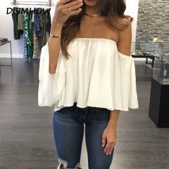 Sexy Off Shoulder Blouses Women Puff SleeveTops Ruffles Blouse Shirt Streetwear Elegant Beach Blusas white l