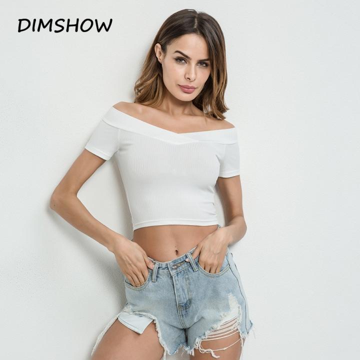 b19cbd14752418 Summer off shoulder crop top female t-shirt v neck slim sexy t-shirts