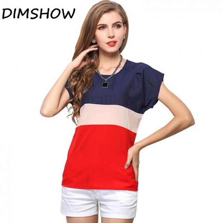 5ab7985843b8 DIMSHOW Office Lady Blouses Short Sleeve Clothing Chiffon Women Vintage Tops  red l