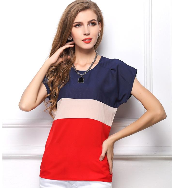 8e385cbc41c3 DIMSHOW Office Lady Blouses Short Sleeve Clothing Chiffon Women ...