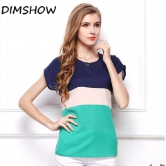 DIMSHOW Office Lady Blouses Short Sleeve Clothing Chiffon Women Vintage Tops green l