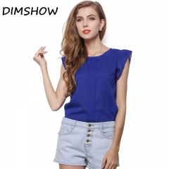 DIMSHOW Office Lady Chiffon Shirts Blouses Short Butterfly Sleeved Shirt Sleeve Summer Work Tops blue l