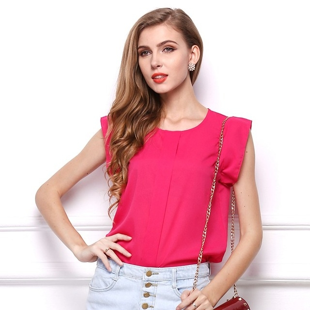 dcda81248c61 DIMSHOW Office Lady Chiffon Shirts Blouses Short Butterfly Sleeved Shirt  Sleeve Summer Work Tops rose red s  Product No  2814923. Item specifics   Seller ...