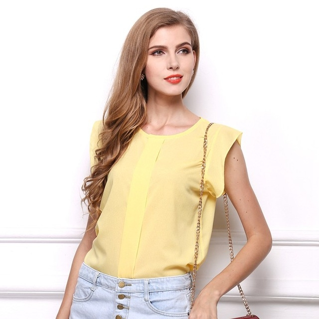 3ea4c05c70fe DIMSHOW Office Lady Chiffon Shirts Blouses Short Butterfly Sleeved Shirt  Sleeve Summer Work Tops yellow m  Product No  2814928. Item specifics   Seller SKU  ...