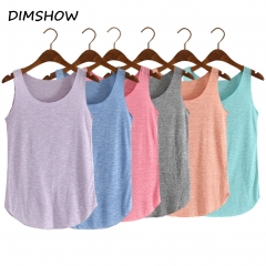 Fashion Women Summer Fitness Tank Top Loose Cotton O-neck Slim Elastic Tank Tops red free size