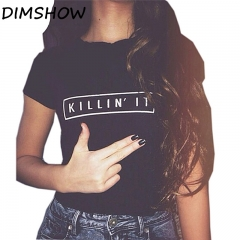 Killin It Fashion Cotton Women T shirt T-shirt Tops White Black Short Sleeve tshirts Casual black l