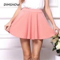 Summer Sexy 2018 Fashion Women's Skirt Stretch High Waist Fit Skirt Flared Pleated Mini Short Skirt pink s