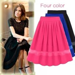 High Waist Pleated Skirts 2018 Women Chiffon Tulle Midi Knee Skirts Fashion Summer Casual Skirts red free size