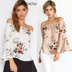 Blouse Loose Sexy Women's Off Shoulder Tops Long Sleeve Shirt Flower white s