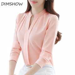 V-neck Long Sleeve Elegant Ladies Office chiffon Shirts pink l
