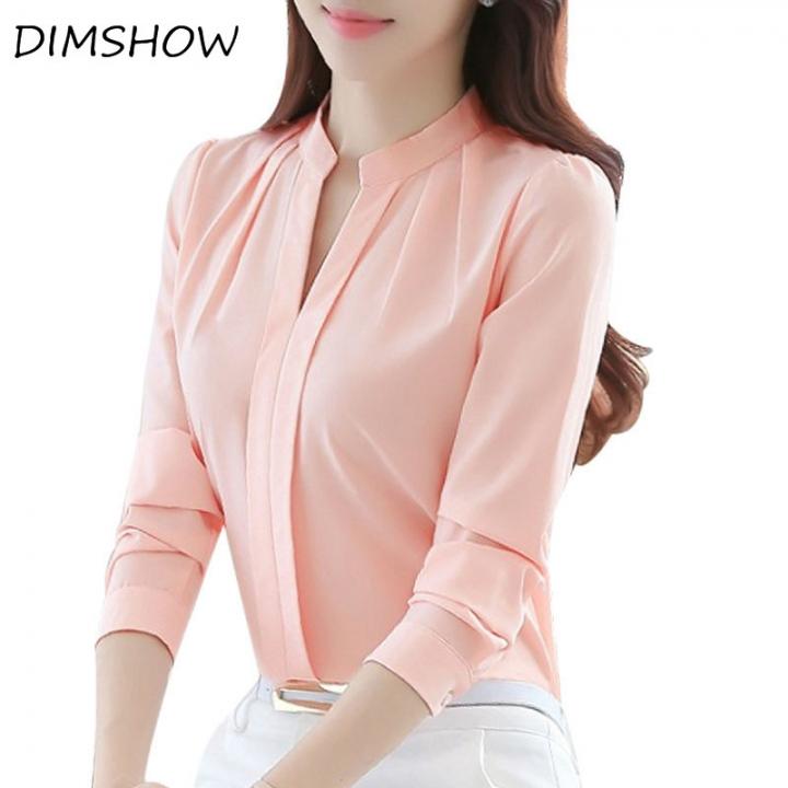 V-neck Long Sleeve Elegant Ladies Office chiffon Shirts pink l